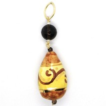 18K YELLOW GOLD PENDANT, SMOKY QUARTZ POTTERY CERAMIC DROP HAND PAINTED IN ITALY image 1