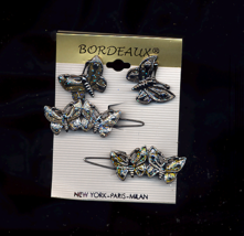 2 Vintage Butterfly Barrettes  And Earring Set - $5.00