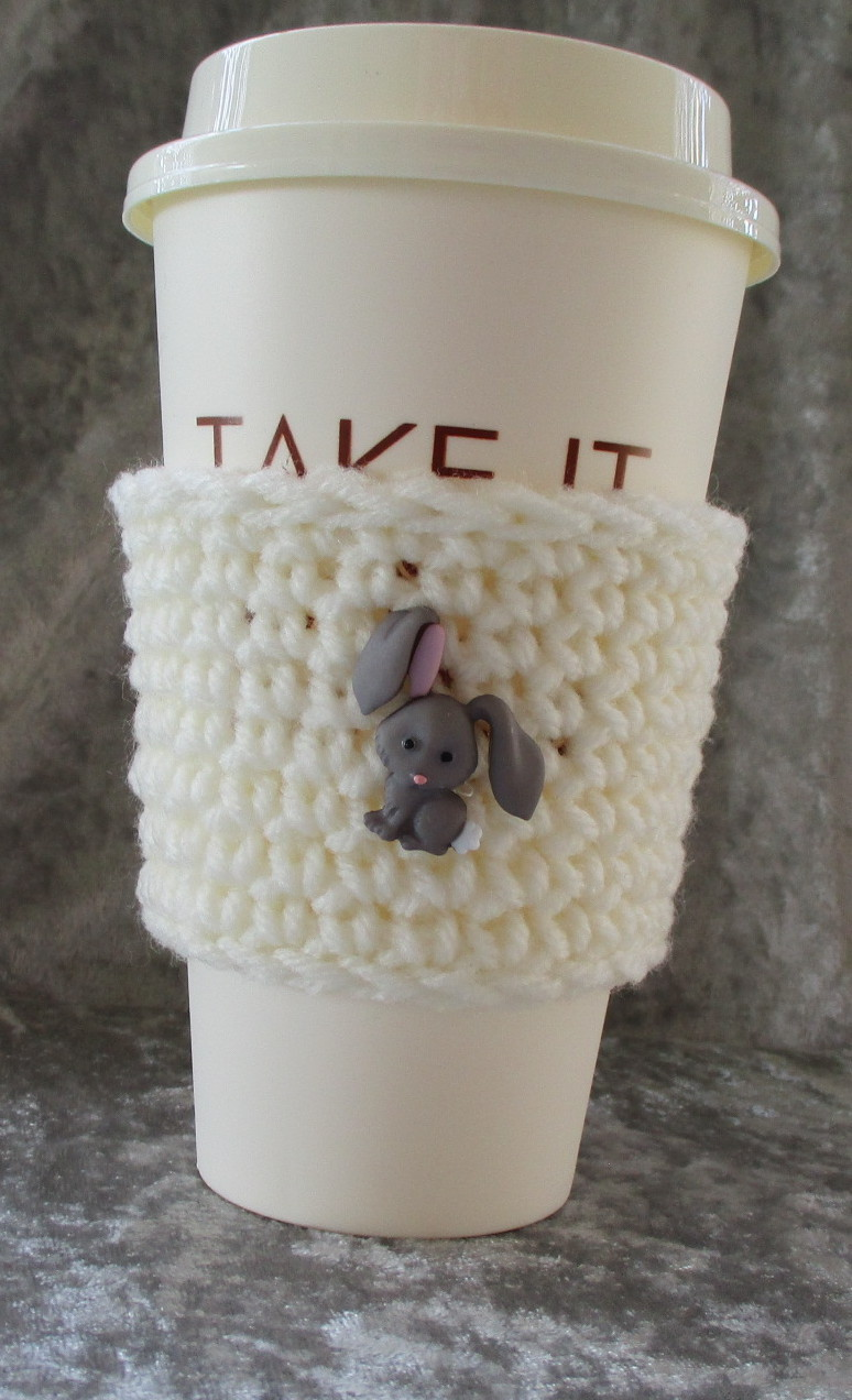 Hand Crafted To Go Cup Cozy with Grey Bunny Button