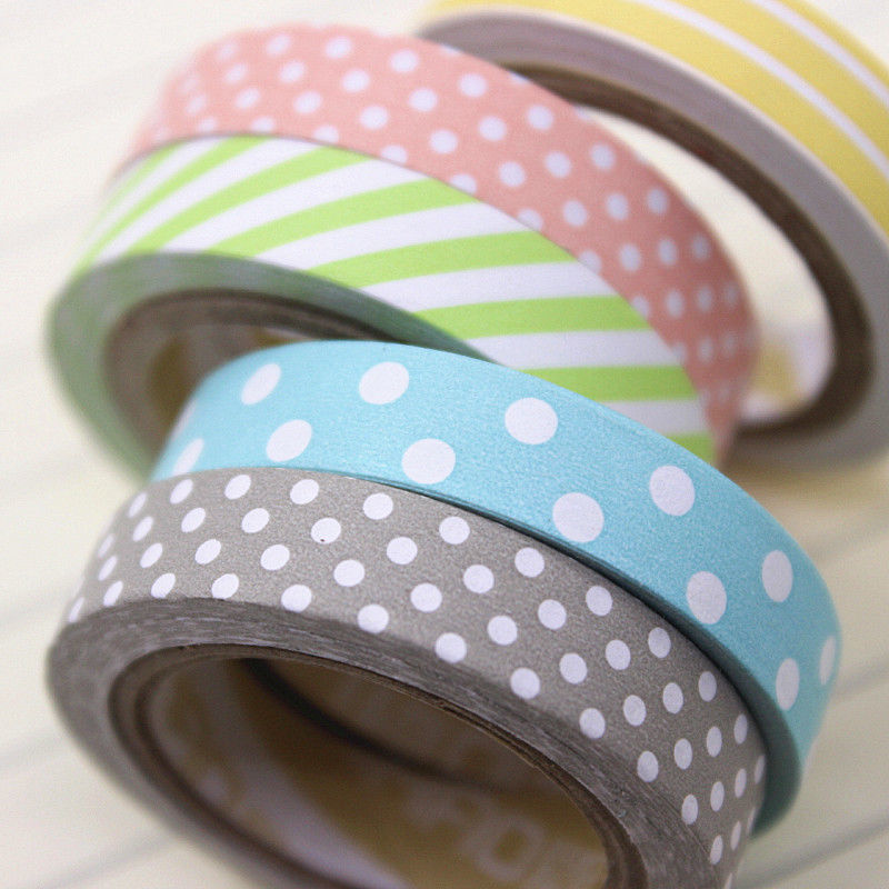Candy Color Rainbow Tape Striped Dots Decorative Tape Color Paper Adhesive Tapes
