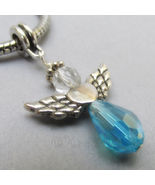 Turquoise Swarovski Crystal Angel European Charm - March Birthstone Aqua... - $16.00