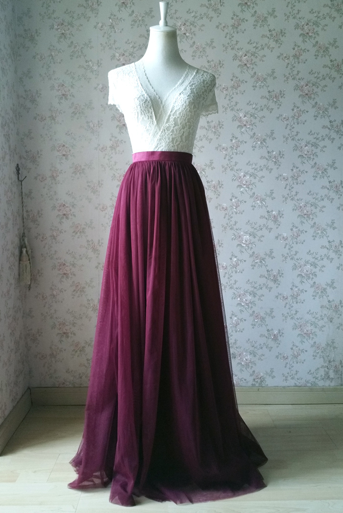 Burgundy Long Tulle Skirt High Waisted Wedding Skirt Burgundy Tulle Maxi Skirt