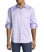 NWT ROBERT GRAHAM shirt LG purple polka dots $198 long sleeves sharp des... - $105.73