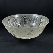 Consolidated Glass Dancing Nymphs Clear Satin Frosted Bowl Vintage Nudes... - $78.21