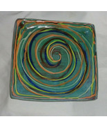 "Salad Plate Earthworks Barbados Pottery Green MultiSwirl square 8 1/2"" H... - $18.05"