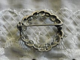 "Vintage Pin Brooch Sterling Circle of Tiny Marcasites & Pearls 1 1/8"" Across image 2"