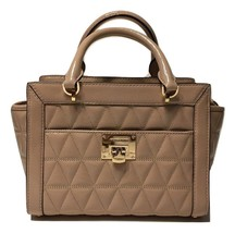 NWT Michael Kors Vivianne Oyster Beige Diamond Quilted Patent Leather Cr... - $2.766,95 MXN