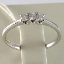 White Gold Ring 750 18K, Trilogy 3 Diamonds Carat Total 0.16, Shank Rounded image 2