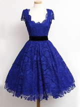 2018 Sexy Royal Blue Lace Prom Dresses Short Ball Gowns Party Dress Cust... - $125.00