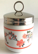 Williams Sonoma Egg Coddler Coral Pink & White Floral Ceramic Metal Lid EUC - $9.99