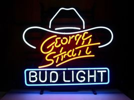 Bud Light George Strait Neon Sign Handcrafted Real Glass Tube Neon Light... - $124.95+