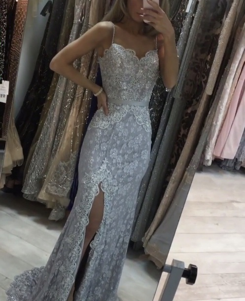 Sweetheart Long Prom Dress Grey Lace Evening Dress High Slit Formal Dress,HH068