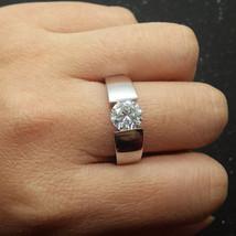 Mens Solitaire Wedding Band Solid 10k White Gold Fantasy White Diamond Round Cut - $699.99
