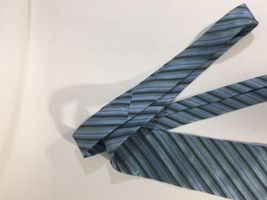 Alfani Men Light Blue Tie Silk Black Striped Size 58 Length 3 Inches width image 12