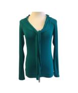 Tristan & Iseut Top S Teal Cowl Tie Front Stretch Knit Long Sleeve Women... - $17.13