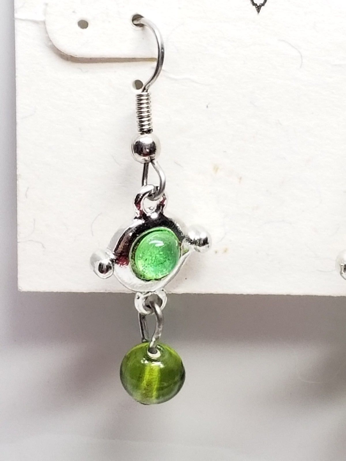 Visage Vintage Earrings Dangling Drop Green Glass Bead Fish Hook New Old Stock