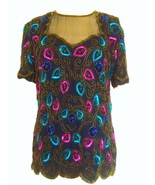 80s 100% Silk Black Pink Blue Gold Sequinned Beaded Sheer Yoke Floral To... - $37.00