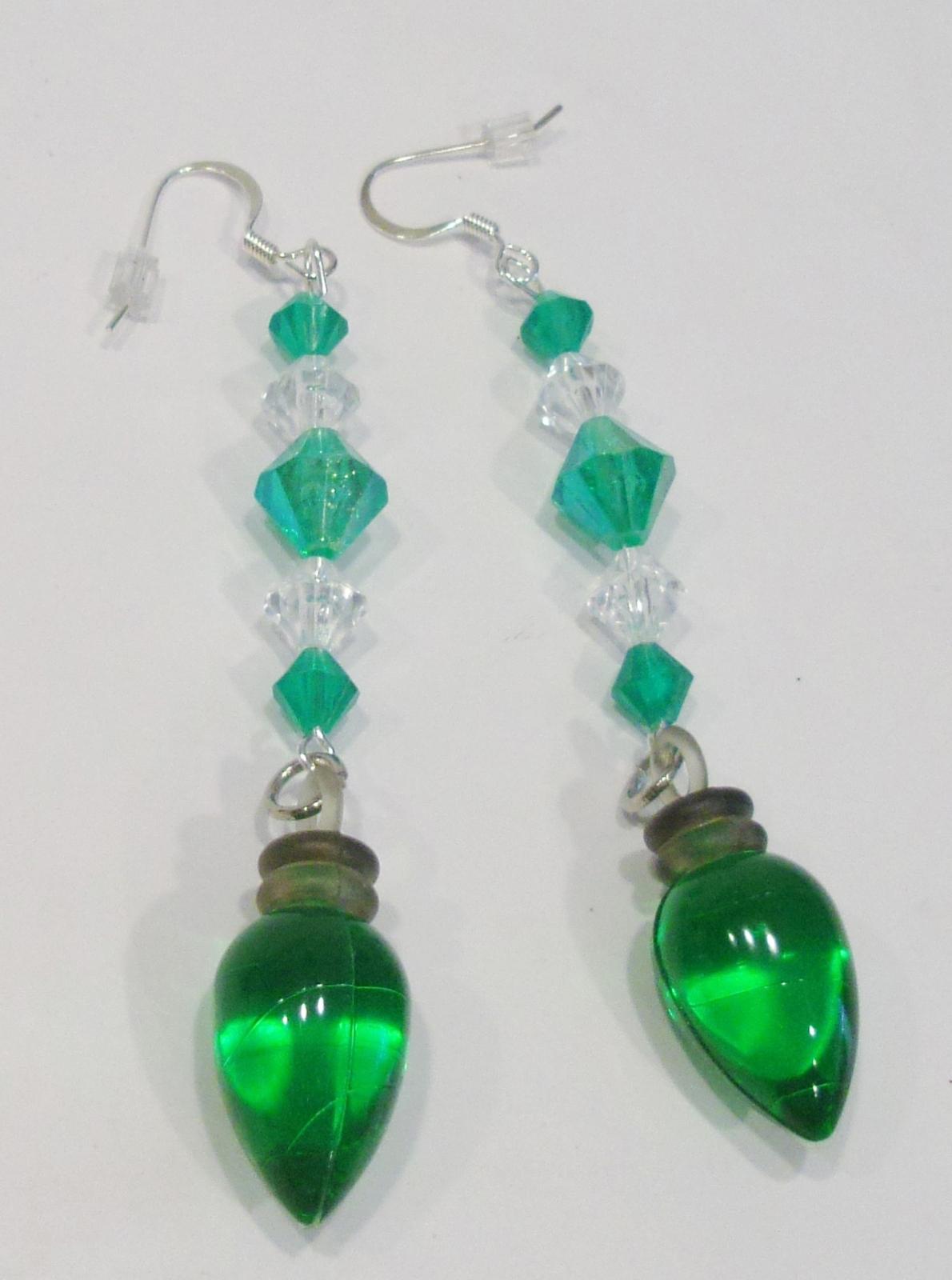 handmade Christmas green light bulb drop earrings