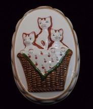 Takahashi Cats Basket Ceramic Wall Hanging San Francisco Japan White Bro... - $29.99