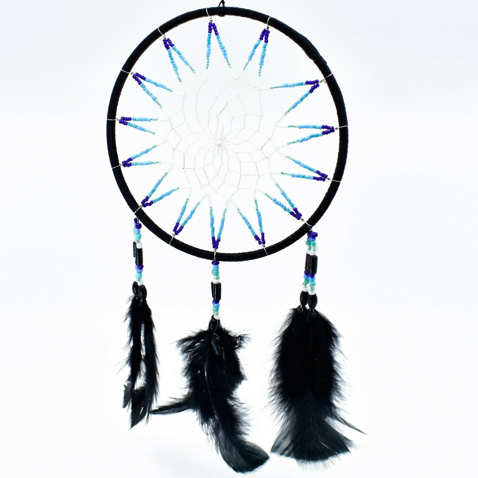 """Handcrafted 13"""" Dreamcatcher Green Yellow Red Plastic & Wood Beads Feathers"""