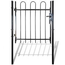 Single Door Fence Gate Hoop Top Garden Barricade Panels Black Rail Patio... - $90.00