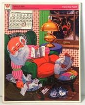 Vintage 1973 Whitman LETTERS TO SANTA Frame Tray Puzzle No. 4528 Sleeping Santa - $16.94