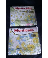 Vtg Cannon Monticello Twin Sheet Set Floral Melody USA Made Multi Color - $46.74