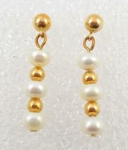 14K Yellow GOLD Beaded and White Cultured PEARLS Drop Dangle EARRINGS - ... - $125.00
