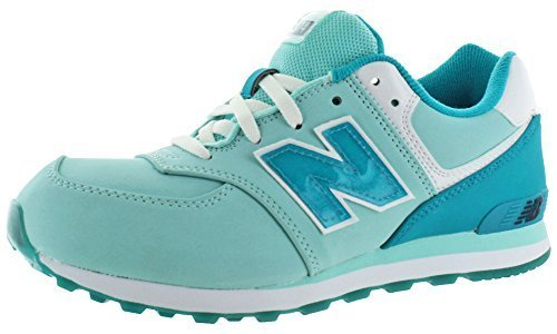 New Balance KL574 Grade Lace Glacial Running Shoe (Big Kid), Blue/Sea Glass, 5.5