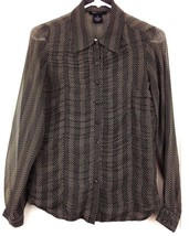 BCBGMAXAZRIA Blouse Shirt Button Pleated Collar Opaque Black Tan Chevron... - $37.57