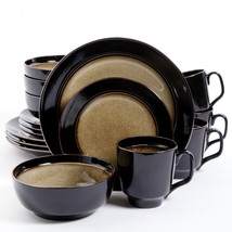 Gibson Elite Bella Galleria 16 Piece Dinnerware Set, Taupe and Black - $96.09