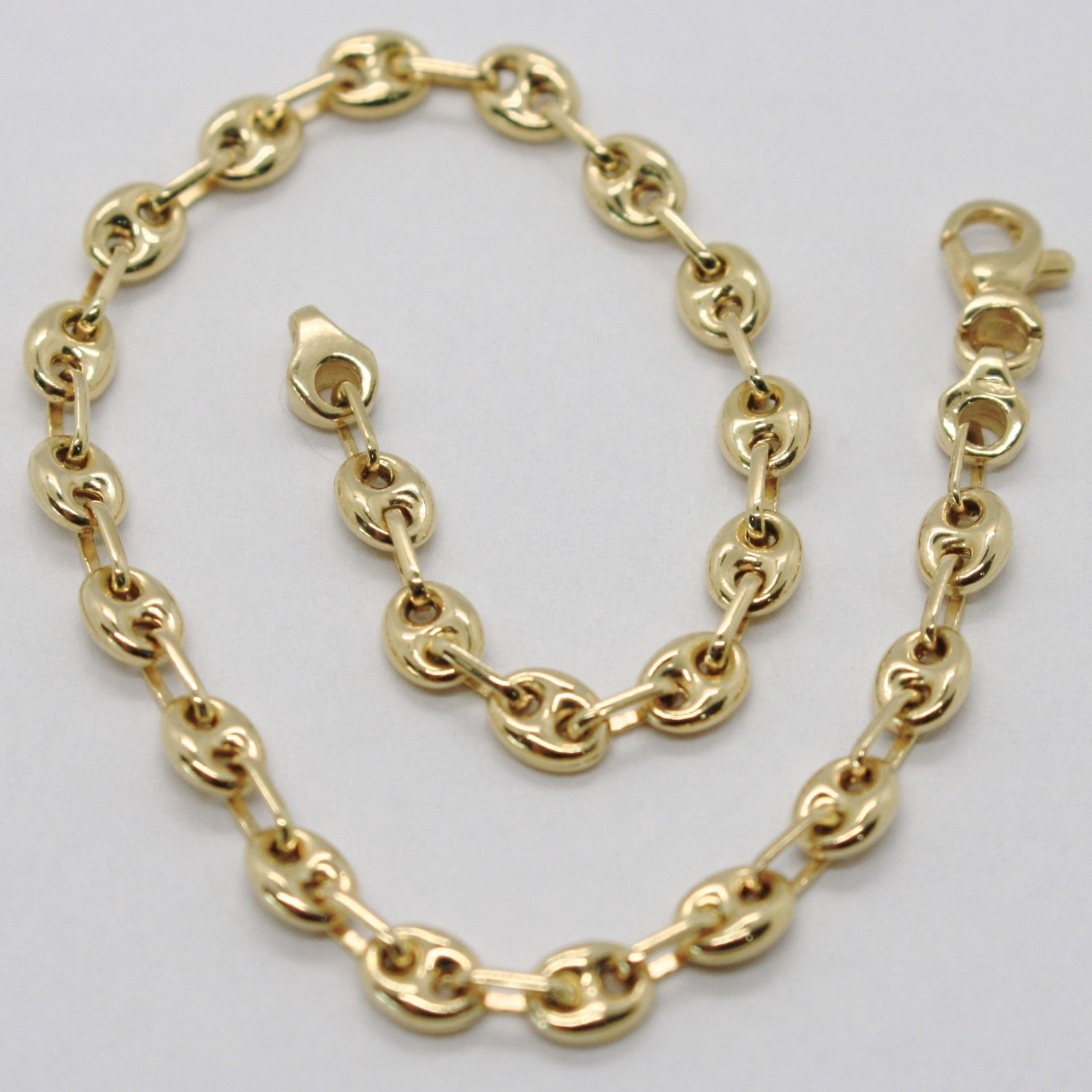 18K YELLOW GOLD SOLID BRACELET OVAL MARINER 4 MM LINK, 7.3 INCHES, MADE IN ITALY
