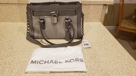 NEW! Michael Kors Hamilton Frame Out Leather East West Pearl Grey Satchel - $145.00
