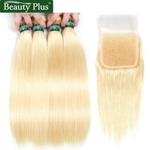 613 Blonde Bundles With Closure Beauty Plus 613 Remy Human Hair Lace Clo... - $529.60