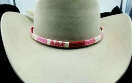 NEW HATBAND Red,Pink,Purple + White w/ WHITE Horsehair Tassels & Buckle ... - €8,10 EUR