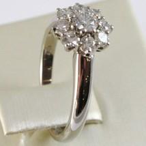 WHITE GOLD RING 750 18K, FLOWER ROSETTA WITH DIAMONDS CARAT TOTAL 0.77 image 2