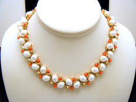 Crown Trifari Vintage Necklace Southampton Coral Lucite Beads Pearlized ... - $138.55