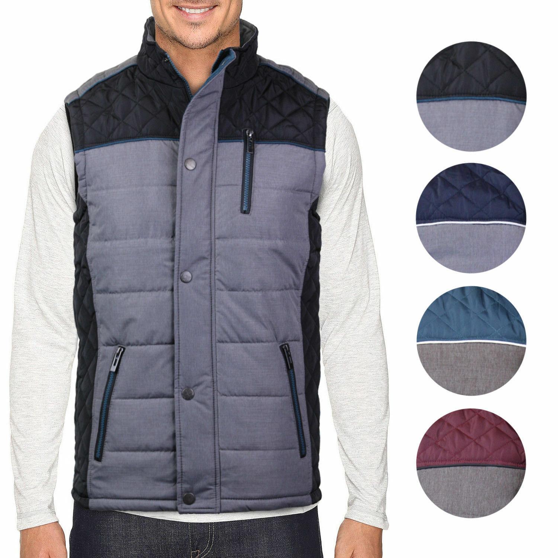 Holstark Men's Zip Up Multi Pocket Insulated Fleece Lined Two Tone Athletic Vest