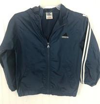 Adidas Windbreaker Jacket Youth Medium 10–12 Hoodie blue nylon zipper misc7 - $20.37