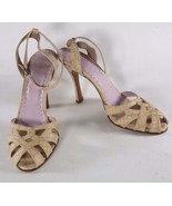 Rose's Roses Sand Croc Embossed Leather Open Pump Ankle Strap Heels Size... - $41.02