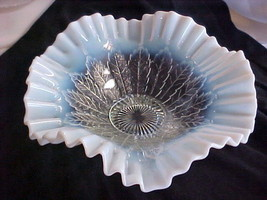 Northwood White Opalescent Leaf and Bead Ruffled Bowl 1906 - $99.00
