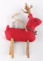 Wondershop 4 count Birchwood Bay Fabric Reindeer Ornament Set NEW w Tags image 3