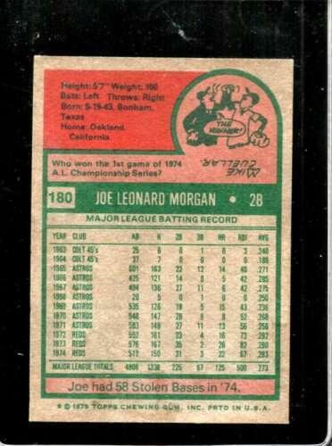 1975 TOPPS #180 JOE MORGAN VG+ REDS HOF  *X3941