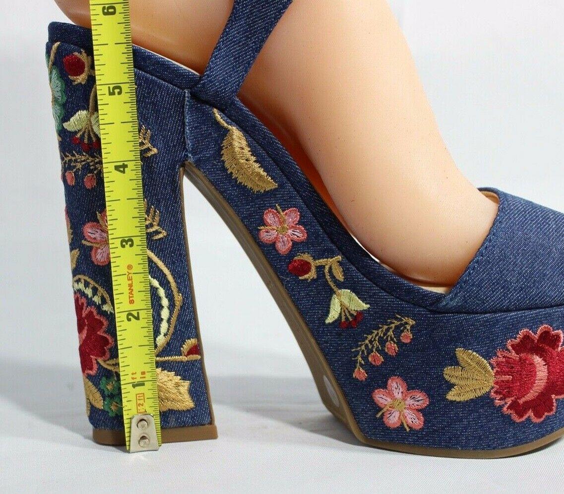 Jessica Simpson Divella Damen High Heels Offen Sandalen Denim Stickerei Größe 7 image 7