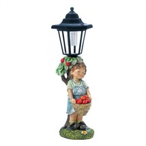 Boy Apple Basket Solar Street Light Statue - $16.63