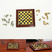 Mini Chess Board 1:12 Scale Miniature Metal Set Table Board Game Wooden ... - $13.92