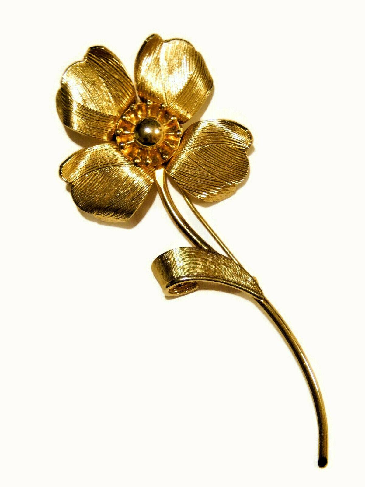 Vintage Coro flower long stem gold tone brooch pin jewelry  - $14.95