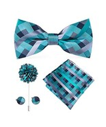 Dubulle Plaid Bowtie for Men Teal Pocket Square Cufflinks - $16.07