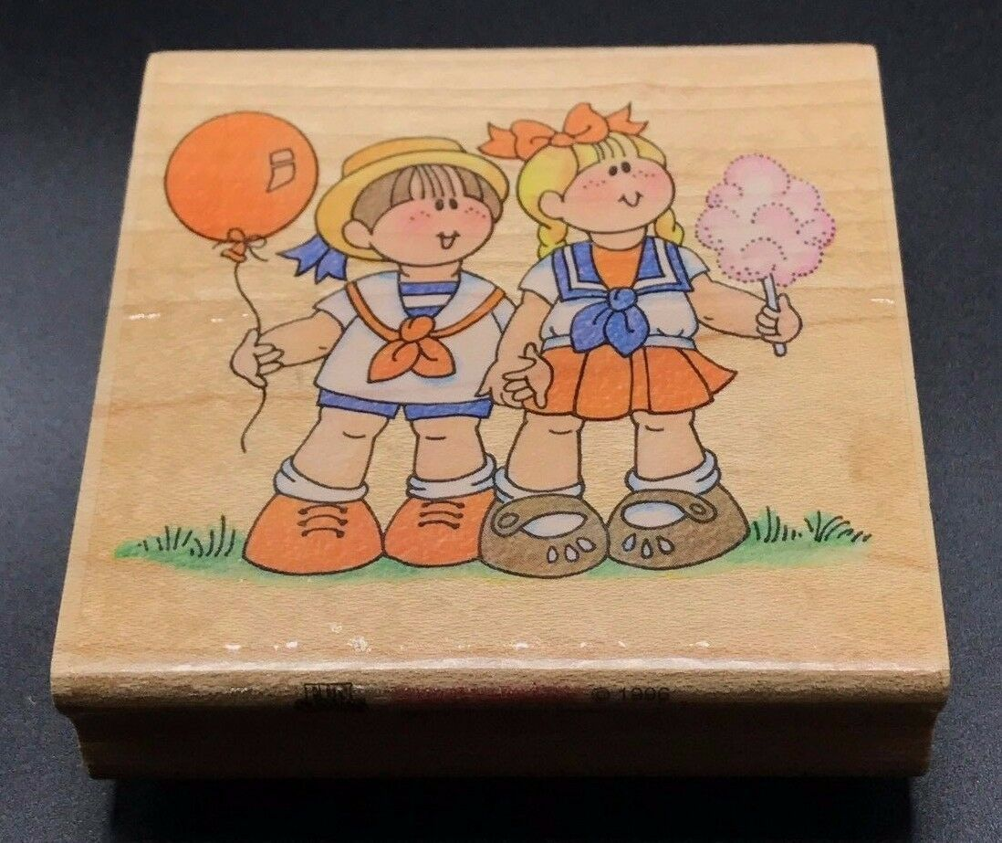 "Primary image for COUNTY FAIR KIDS STAMPENDOUS BOY GIRL Wood Mounted Rubber Stamp #1872 NEW 3""X3"""