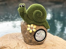 Solar Powered Garden Snail On Rock Sculpture In Flocked Artificial Grass... - $32.66